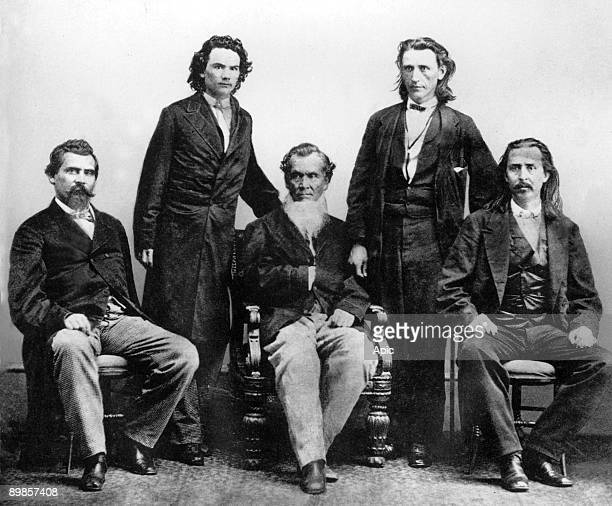 Cherokee Indians in Washington in 1866 to negotiate the treaty with the United States which was signed on 19July gd John Rollin Ridge Saladin Watie...