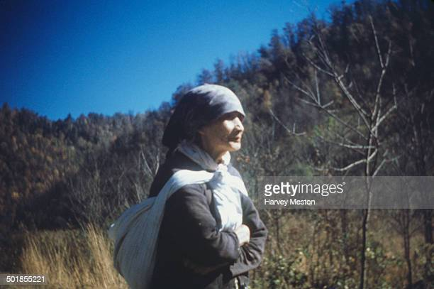 A Cherokee Indian woman at the Qualla Boundary a land trust territory for Cherokee Indians North Carolina USA circa 1960