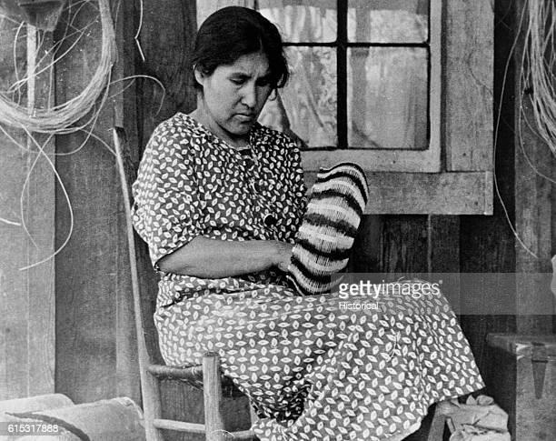Cherokee Woman Weaving Basket