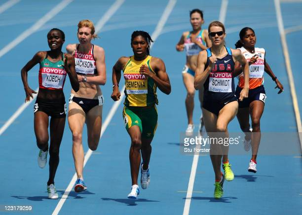 Cherono Koech of Kenya Emma Jackson of Great Britain Caster Semenya of South Africa Alice Schmidt of United States and Tintu Luka of India compete in...