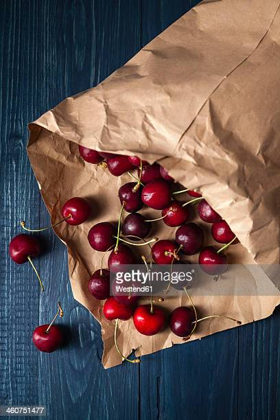 Cherries in brown paper, close up