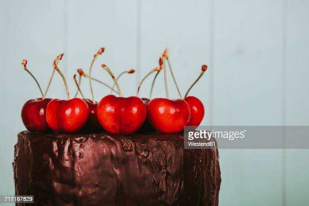 Cherries on cake with chocolate icing, close-up
