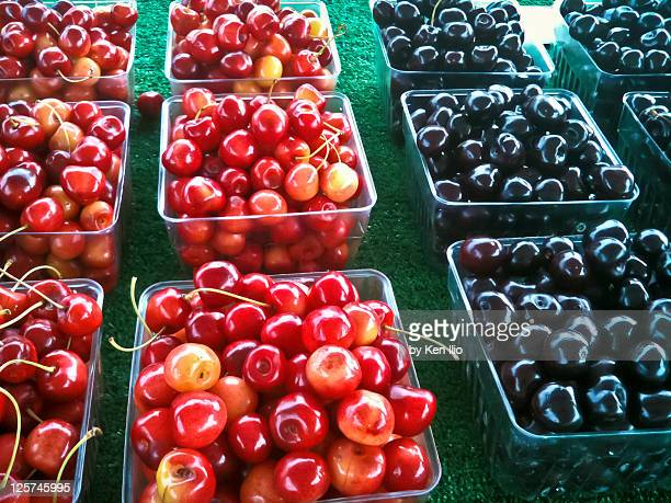 cherry and blackberry at market - ken ilio stock pictures, royalty-free photos & images