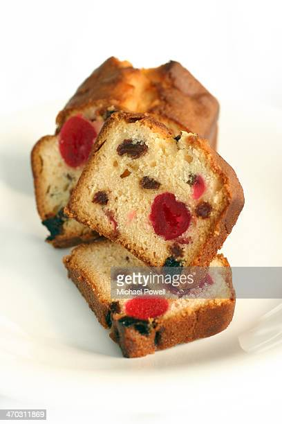 Cherry and fruit cake slices.