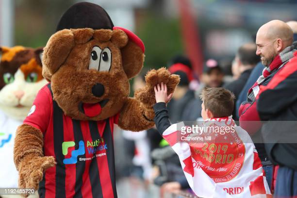 Cherry Bear, the AFC Bournemouth mascot interacts with the fans prior to the Premier League match between AFC Bournemouth and Liverpool FC at...