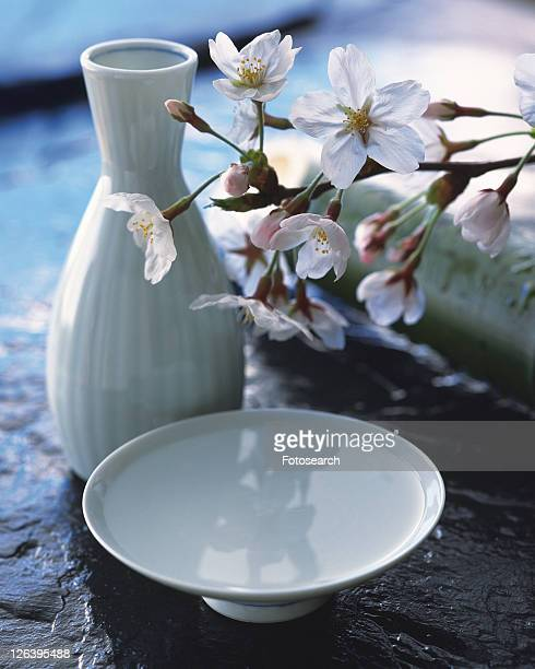 Cherry blossom and sake cup
