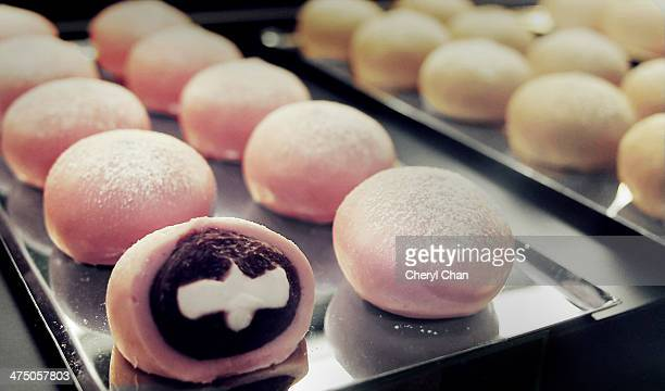 cherry blossom mochi - mochi stock photos and pictures