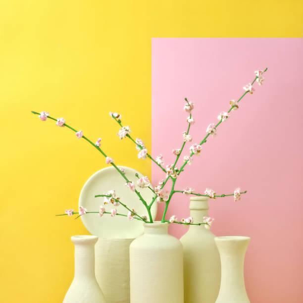 Cherry Blossom Popcorn in Monochromatic Vases