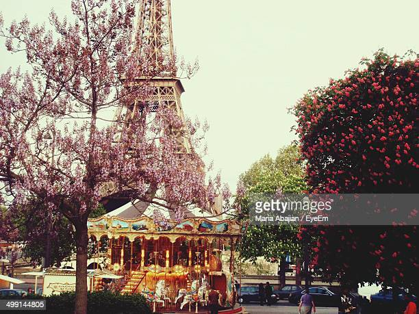 Cherry blossom tree against carousel with Eiffel Tower in background