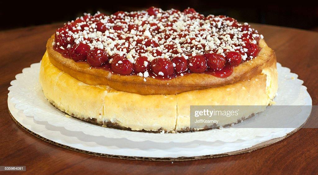 Cherry Cheesecake Beginning : Stock Photo