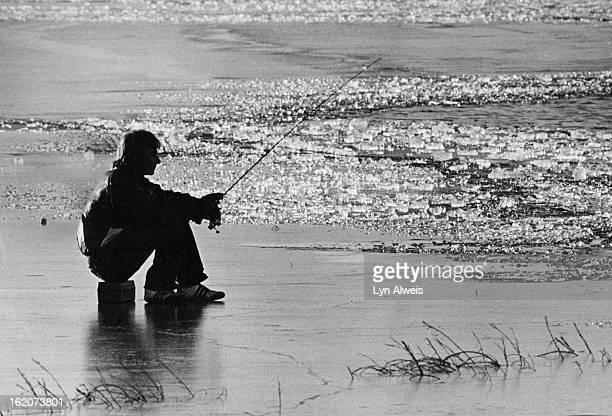 JAN 7 1981 JAN 8 1981 Cherry Creek Res Sitting on the ice fishing in the water beyond the broken up ice Bill Bosseler 19 of Aruada