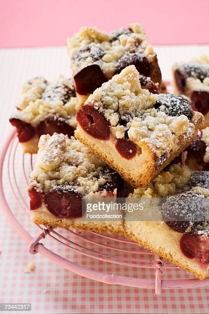 Cherry crumble cake, cut into pieces