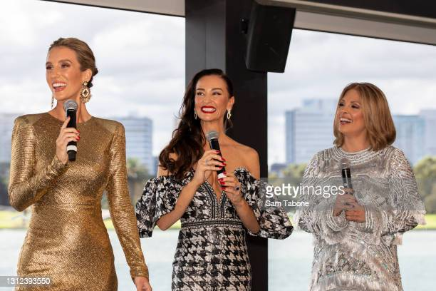 Cherry Dipietrantonio , Kyla Kirkpatrick and Anjali Rao attends the cast announcement for The Real Housewives of Melbourne season 5 on April 14, 2021...