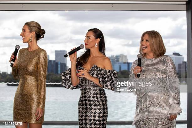 Cherry Dipietrtantomnio, Kyla Kirkpatrick and Anjali Rao attends the cast announcement for The Real Housewives of Melbourne season 5 on April 14,...