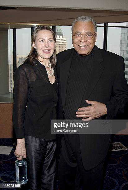 Cherry Jones and James Earl Jones during 59th Annual Tony Awards 'Meet The Nominees' Press Reception at The View at The Marriot Marquis in New York...