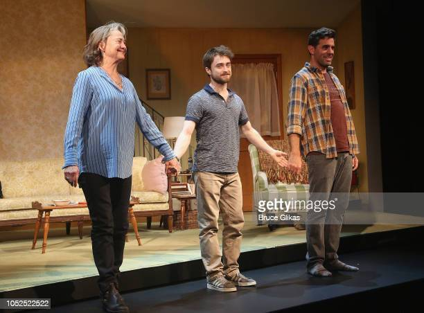 Cherry Jones Daniel Radcliffe and Bobby Cannavale take the opening night curtain call for the new hit play The Lifespan of A Fact on Broadway at...