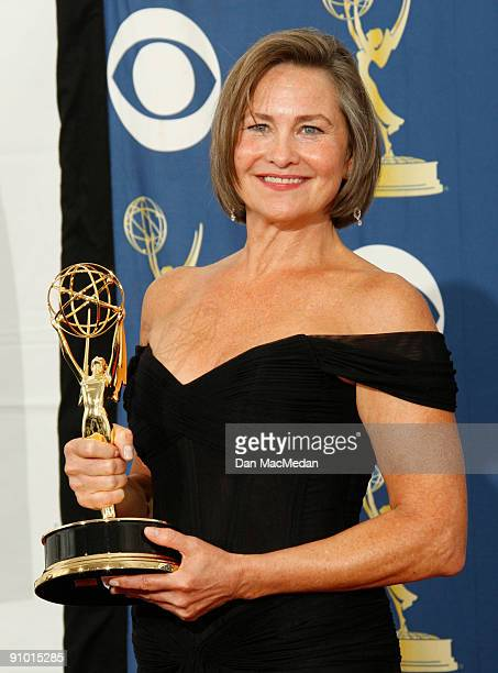Cherry Jones poses with her award for Outstanding Supporting Actress in a Drama Series for '24' in the press room at the 61st Primetime Emmy Awards...
