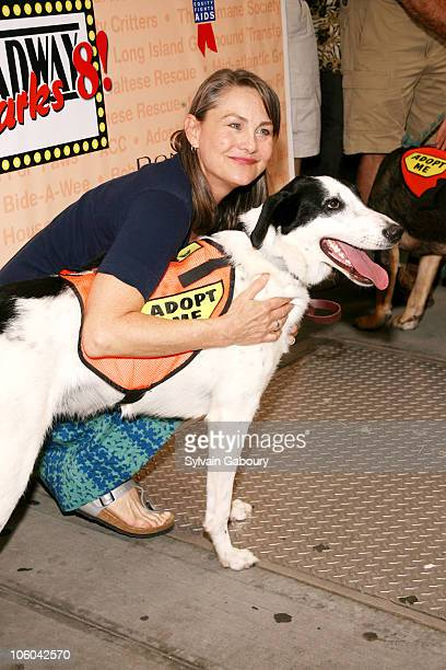 Cherry Jones with dog Misha during Broadway Barks 8 at Shubert Alley in New York NY United States