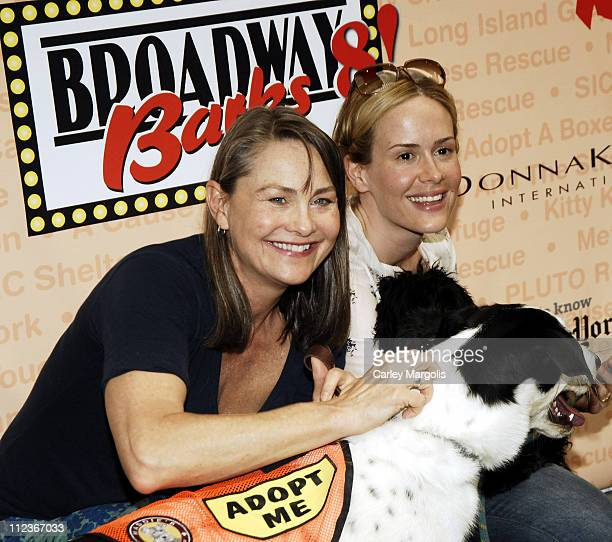 Cherry Jones with Mischa and Sarah Paulson during Broadway Barks 8 at Shubert Alley in New York City New York United States