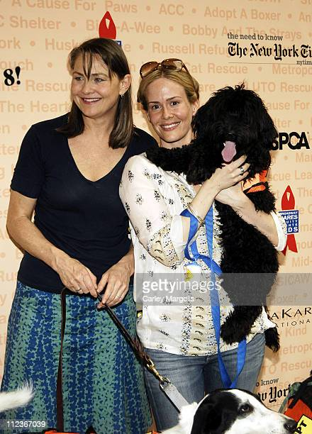 Cherry Jones with Mischa and Sarah Paulson with Teddy
