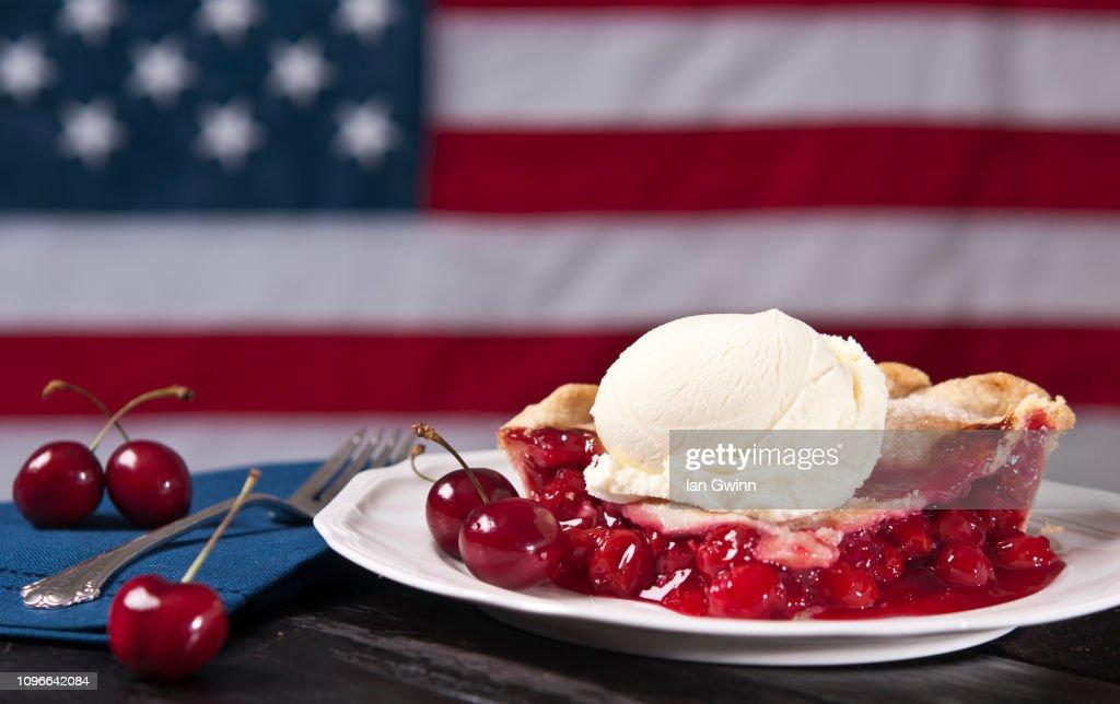 Cherry Pie A La Mode : Stock Photo