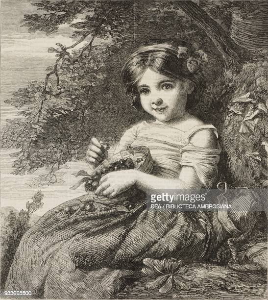 Cherry ripe a little girl with a basket of cherries engraving from a painting by John Thomas Peele illustration from the magazine The Illustrated...