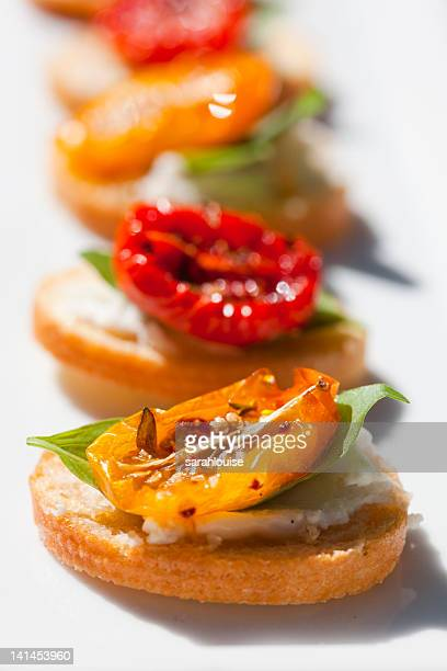 Cherry tomato and yellow pepper crostini