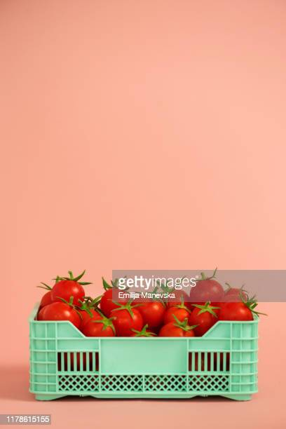 cherry tomatoes - crate stock pictures, royalty-free photos & images
