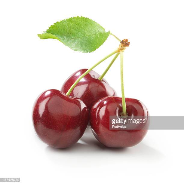 Cherry trio with stem and Leaf