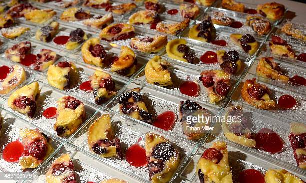 Cherryvanilla clafoutis with griottes cherry sauce desserts are served at the Restaurant Guy Savoy booth at Vegas Uncork'd by Bon Appetit's Grand...