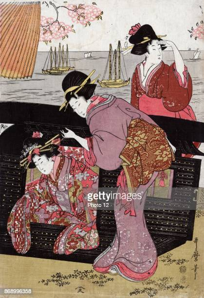 Cherryviewing at Gotenyama Print shows a woman helping another woman get out of a sedan chair and another woman standing behind the chair with cherry...