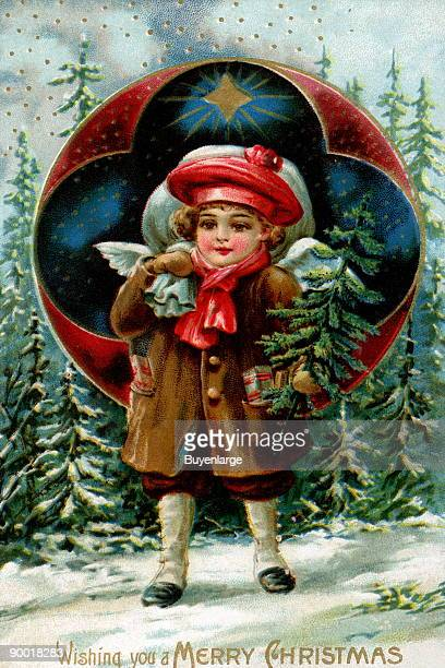 A cherub a young angel walks out of the woods with a small Christmas tree a few presents and a sack Behind her is the star of Bethlehem and a round...