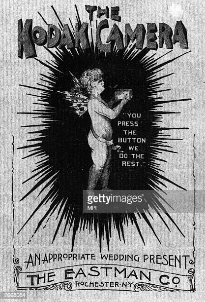 A cherub advertises the new Kodak camera perfected by George Eastman in 1888 and intended for use by the general public