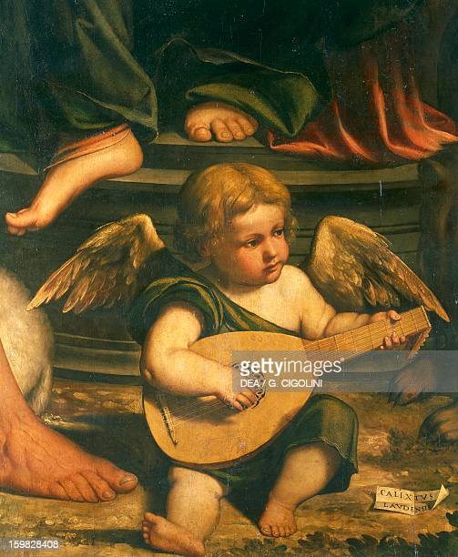 Cherub musician detail of the Virgin and Child with St John the Baptist and St Jerome Callisto Piazza oil and tempera on canvas 215x188 cm Italy 16th...