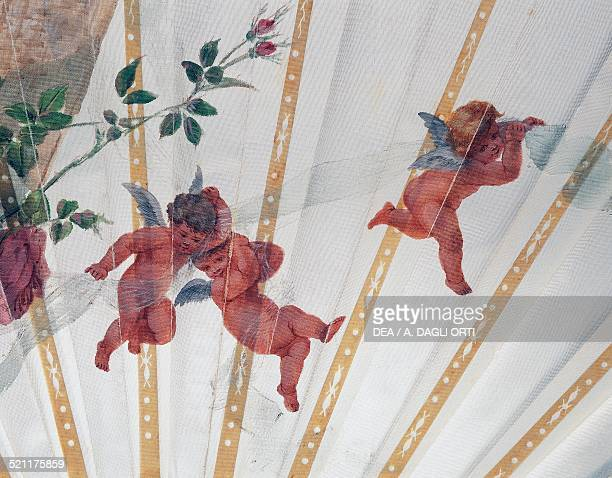 Cherubs and roses detail of an engagement hand fan in temperapainted organza 1890 France 19th century Trieste Civico Museo Sartorio France