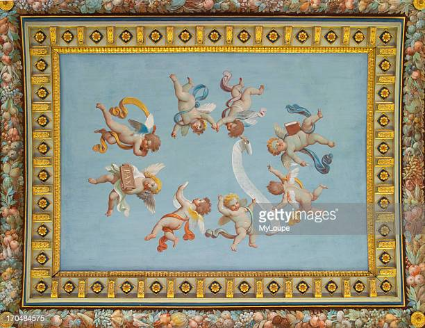 Cherubs painted on a ceiling in the Vatican Museum Rome