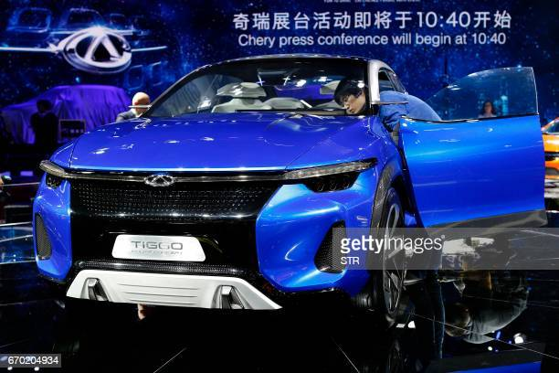 A Chery Tiggo Coupe Concept car is displayed during the first day of the 17th Shanghai International Automobile Industry Exhibition in Shanghai on...