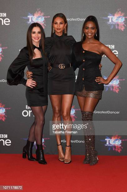 Cheryl Alesha Dixon and Oti Mabuse attend a photocall for the BBC's The Greatest Dancer at The May Fair Hotel on December 10 2018 in London England