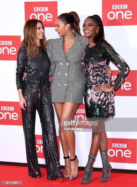"Cheryl, Alesha Dixon and Oti Mabuse attend ""The Greatest Dancer"" photocall at Soho Hotel on December 02, 2019 in London, England."