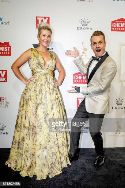 Cheryl and Grant Denyer arrives at the 59th Annual Logie Awards at Crown Palladium on April 23 2017 in Melbourne Australia