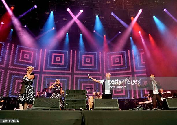 Cheryl Baker Jay Ashton and Bobby G of Bucks Fizz performs on stage at Rewind Festival Scotland at Scone Palace on July 19 2014 in Perth United...
