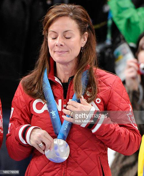 COLUMBIA Cheryl Bernard during the medal ceremony Canada loses to Sweden in Gold medal match in Women's Curling between Canada and Sweden at the...