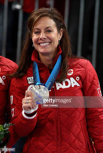 Cheryl Bernard of Canada celebrates winning the silver medal after the women's gold medal curling game between Canada and Sweden on day 15 of the...