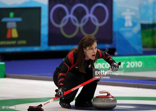 Cheryl Bernard of Canada directs her teammates during the women's gold medal curling game between Canada and Sweden on day 15 of the Vancouver 2010...