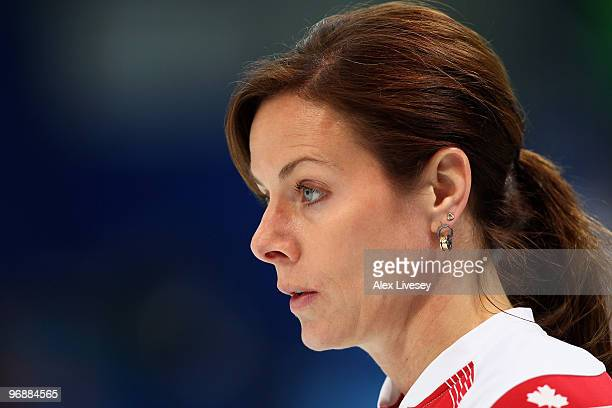 Cheryl Bernard of Canada looks on during the Women's Curling Round Robin match between Denmark and Canada on day 8 of the Vancouver 2010 Winter...