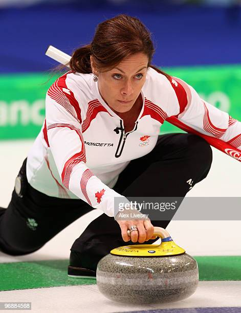 Cheryl Bernard of Canada releases a stone during the Women's Curling Round Robin match between Denmark and Canada on day 8 of the Vancouver 2010...