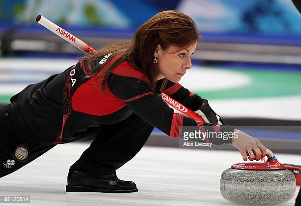 Cheryl Bernard of Canada releases a stone during the women's gold medal curling game between Canada and Sweden on day 15 of the Vancouver 2010 Winter...