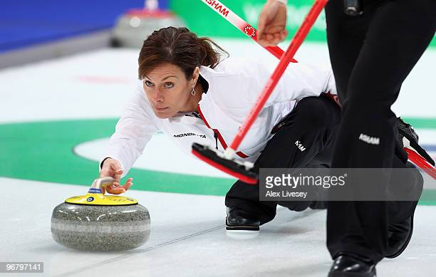 Cheryl Bernard of Canada releases the stone during the Women's Curling Round Robin match between Japan and Canada on day 6 of the Vancouver 2010...