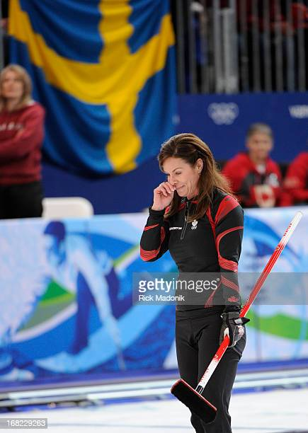 Cheryl Bernard reacts to his missed shot which cost the Gold Canada loses to Sweden in Gold medal match in Women's Curling at the Vancouver Olympic...