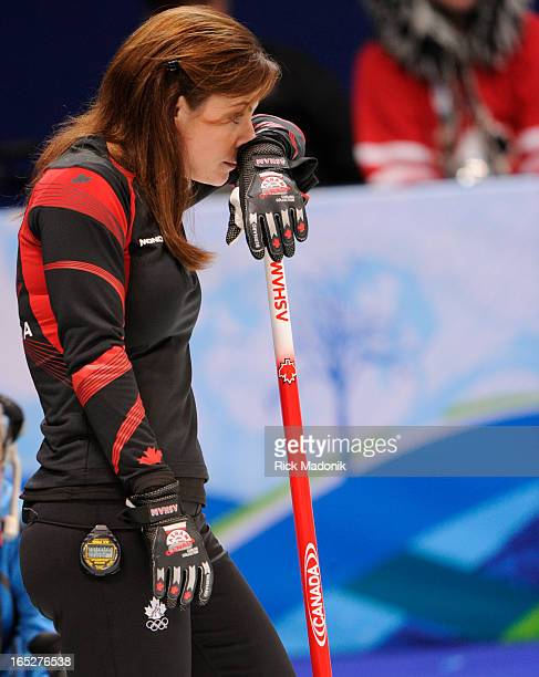 COLUMBIA Cheryl Bernard waits during a Sweden timeout in the extra end Canada loses to Sweden in Gold medal match in Women's Curling between Canada...
